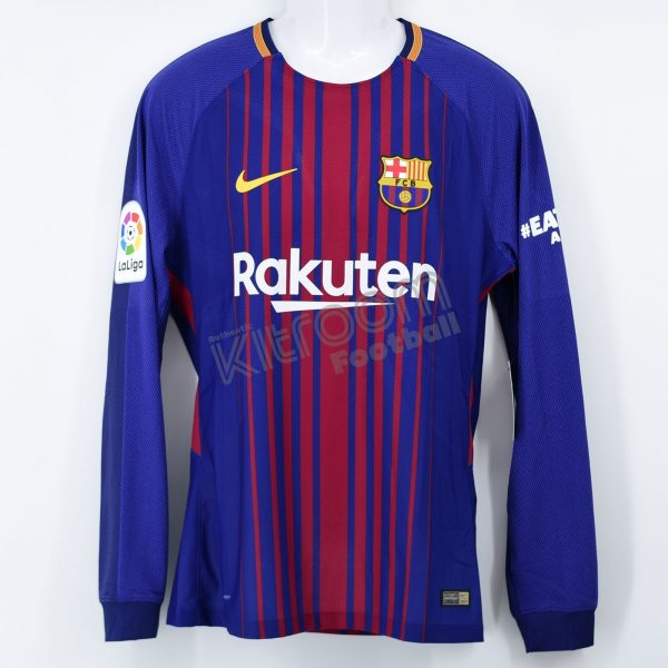 35ce1281d32 2017-18 Barcelona Player Issue Home L S Shirt Messi  10 vs Real ...