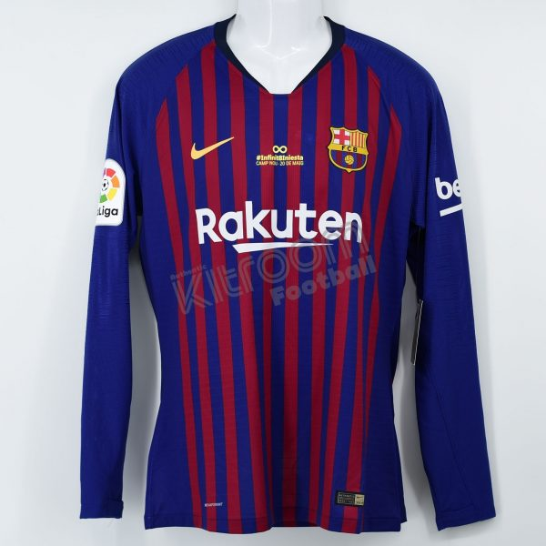 f48a3251f38 2018-19 Barcelona Player Issue Home L S Shirt Piqué  3 Iniesta ...