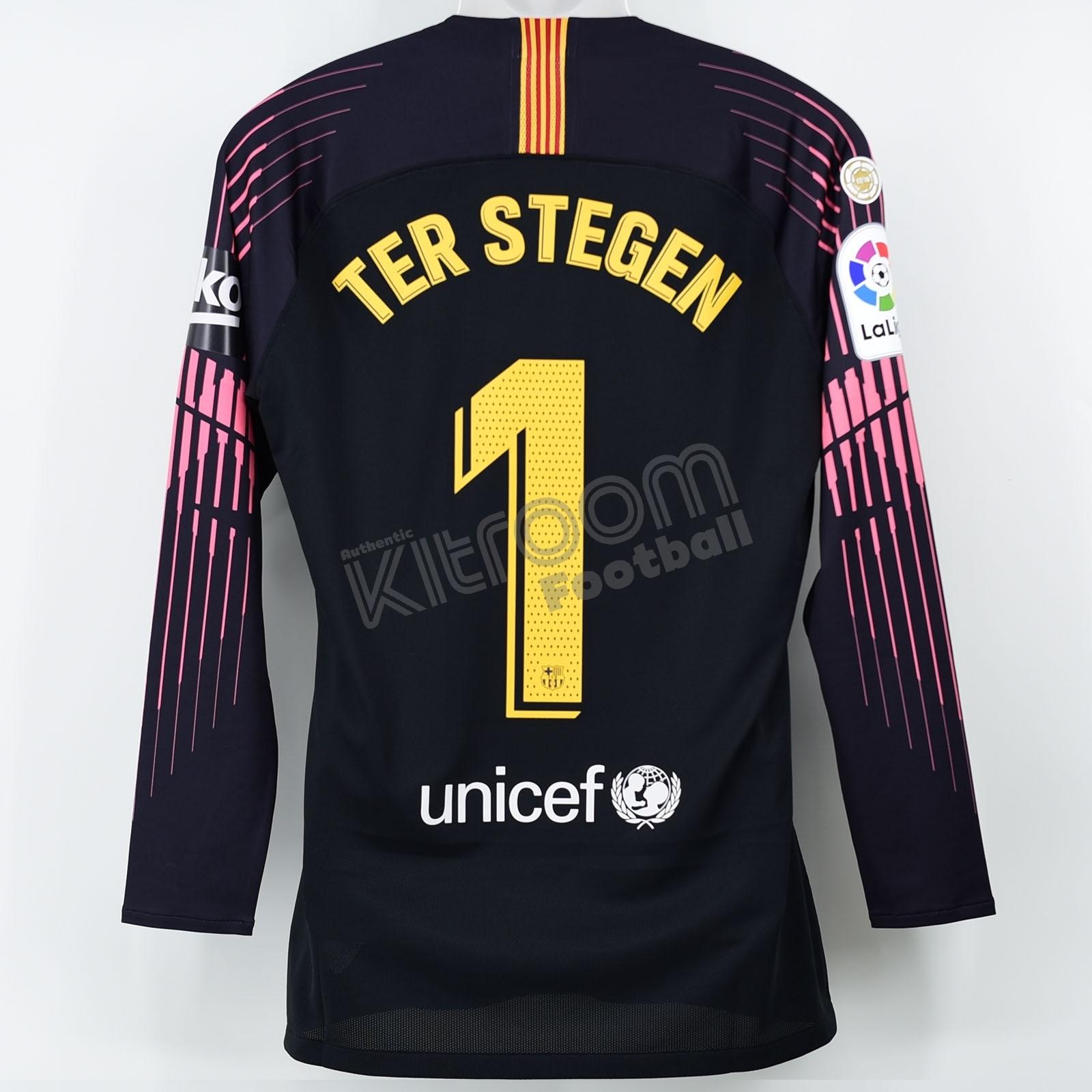 meet 74e7a 1629d Details about 2018-19 Barcelona Player Issue Black GK Shirt #1 Ter Stegen  La Liga Match Un ...