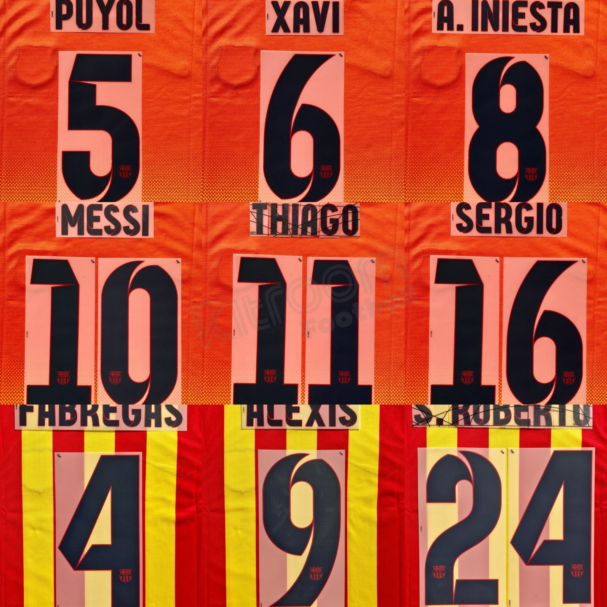 2012-14 Barcelona Player Issue Away Name Set Sipesa for Shirt Jersey
